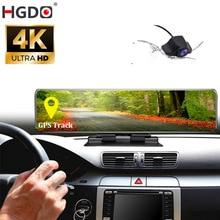 HGDO 4K pano araba dvrı 3840*2160P Sony IMX 415 dikiz ayna GPS takip cihazı kamera 1080P araba Video kaydedici Dash kamera konsolu