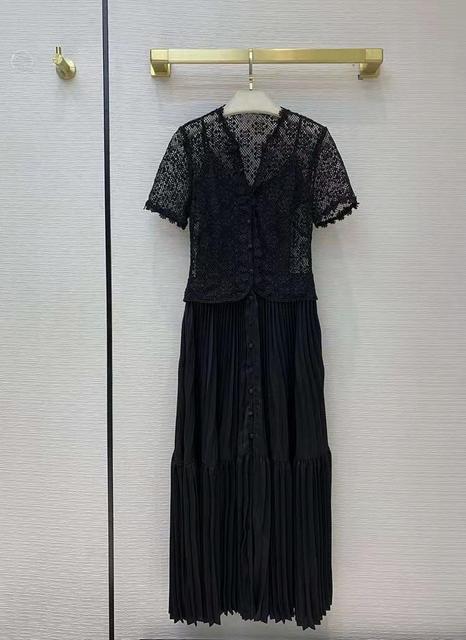 Prom Dresses Summer Dress 2021 Evening Lace Cotton Party Vintage Long Dress V Neck Short Sleeve Black White Women Clothing Molin 5
