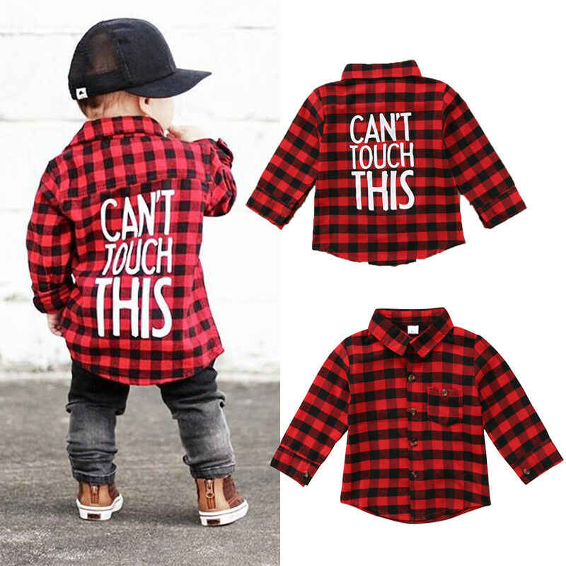 Fashion kid baby boy girl shirt red plaid long sleeve top autumn outdoor 1-7Y toddler children clothes top