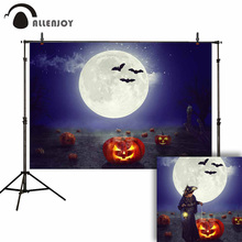 Allenjoy Halloween Party Photophone Midnight Moon Pumpkins Latern Mysterious Photobooth Background Wonderland Photocall Backdrop allenjoy photographic backgrounds halloween hall magic wizard moon night sky backdrop photo shoot prop photobooth photophone