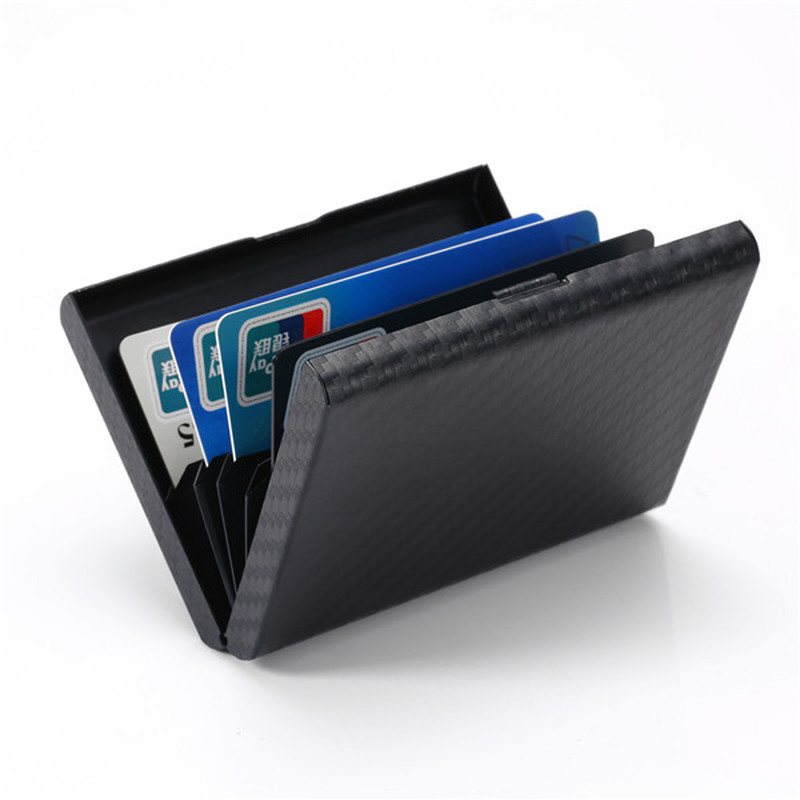 Bycobecy 2020 Carbon Fiber Wallet Metal Plastic Card Holders Travel Wallet Passport Holder Document Organizer RFID Men Women