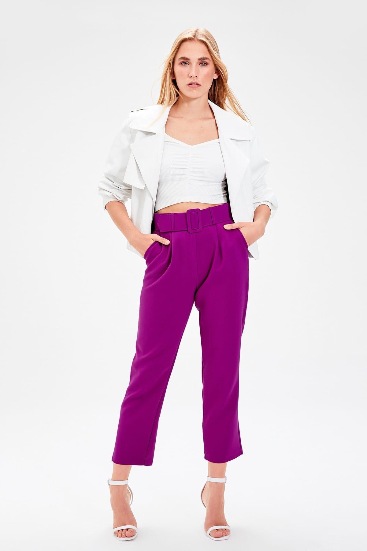 Trendyol Purple Belt Detail Pants TWOSS19BB0468
