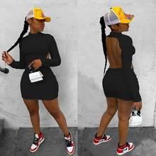 Echoine jednolity kolor, długi rękaw Skinny Sexy Mini sukienka Backless drążą stroje klubowe jesień wąska obcisła Vintage Vestidos 2020 nowy