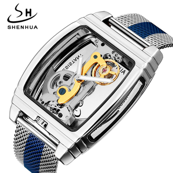 цена на Creative Stainless Steel Automatic Mechanical Watches Men Tourbillon Watches Transparent Steampunk Skeleton Self Winding Clock