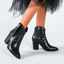 Women's High heels boots Rivet Zipper PU leather shoes woman Pointed toe Snake print Mid calf boots for women Fashion Gingham