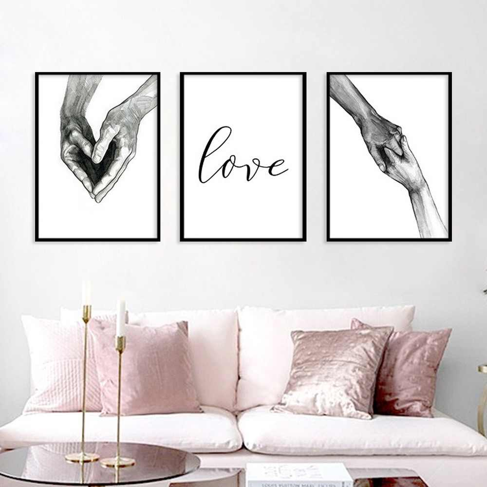 Black White Simple Hand In Hand Lover Canvas Painting Love Couple Love Promise Posters Wall Pictures For Living Room Home Decor Painting Calligraphy Aliexpress