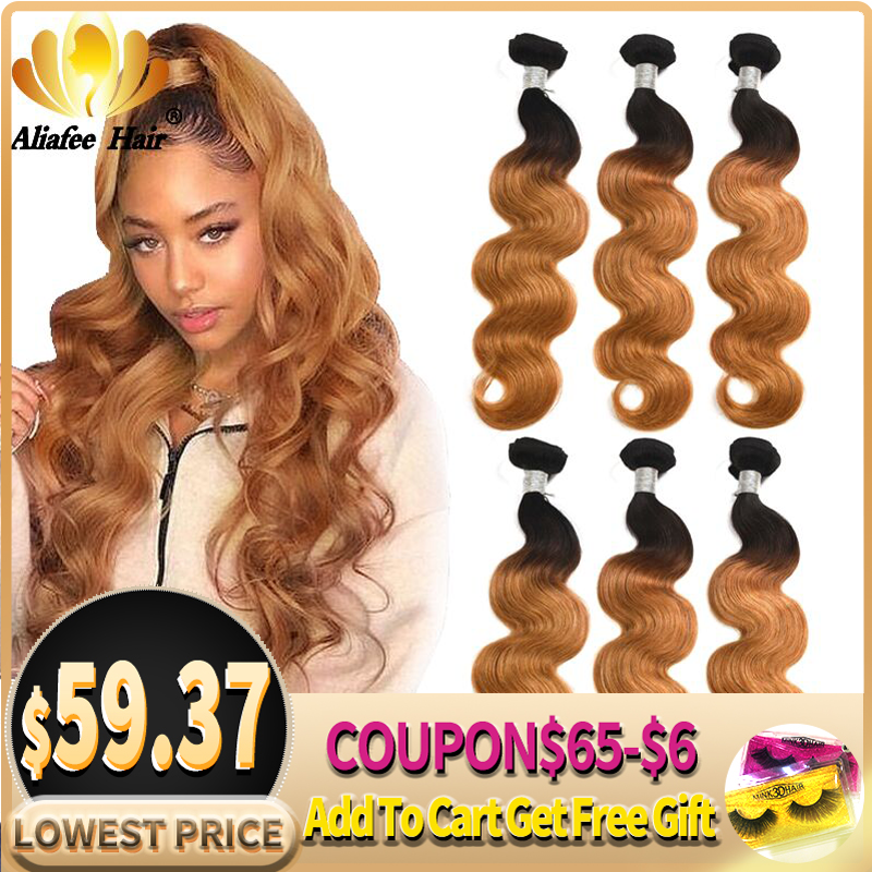 AliAfee Hair Brazilian Hair Weave Bundles Ombre Body Wave Bundles 1B/99J/#27/Burgundy/#2/#4/Colors Remy Human Hair Extension