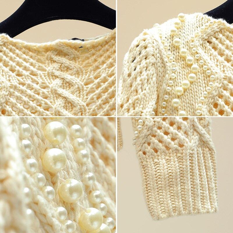 Perle perle creux pull pull pour femmes printemps chandails filles dames tempérament mince tricot manteau hauts tricots automne - 4