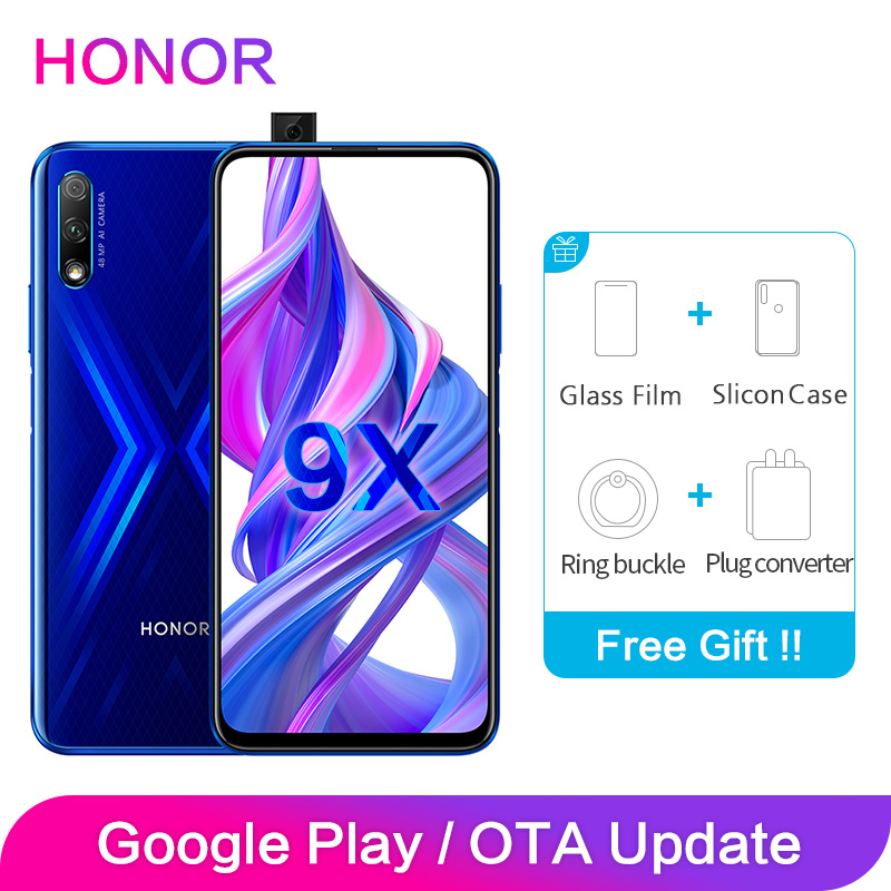 Honor 9X Global ROM 4GB 64GB 128GB 48MP Dual Cameras GPU Kirin 810 Octa Core 6.59 Inch FHD Full Screen Mobile Phone Smartphone