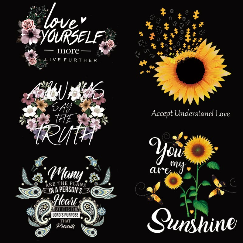Beautiful Sunflower Thermo Sticker On Clothes DIY A-level Washable Iron On Transfers For T-shirt Clothing Patches Decoration Set