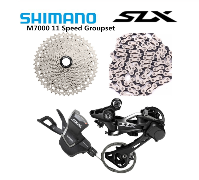 <font><b>Shimano</b></font> <font><b>SLX</b></font> <font><b>M7000</b></font> MTB Bicycle <font><b>11</b></font> Speed Shifter Rear Derailleurs With Sunrace Csms8 <font><b>11</b></font>-46t Cassette Silver KMC x11.93 Chain image