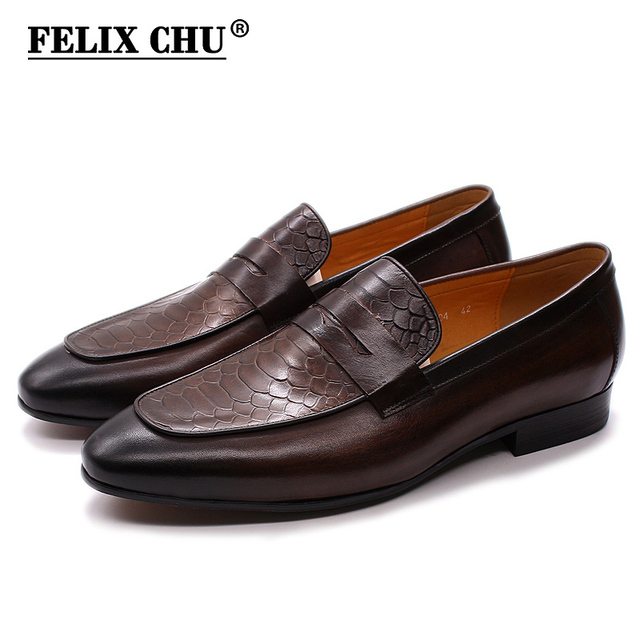 FELIX CHU Luxury Mens Loafer Shoes Genuine Leather Snake Print Wedding Party Casual Men Dress Shoes Slip On Footwear Comfortable