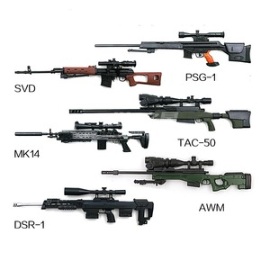 "Image 4 - 6Pcs/set Coated Gun Model Sniper Rifle SVD,PSG 1,MK14,DSR 1,TAC 50 1:6 Assembly Kits Weapon For 12"" Action Figure Collection Toy"