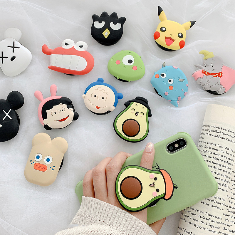 3D Cartoon Airbag Socket Mobile Phone Ring Holder Universal Fold Stand Expanding Phone Mount Bracket For IPhone Stand Stent