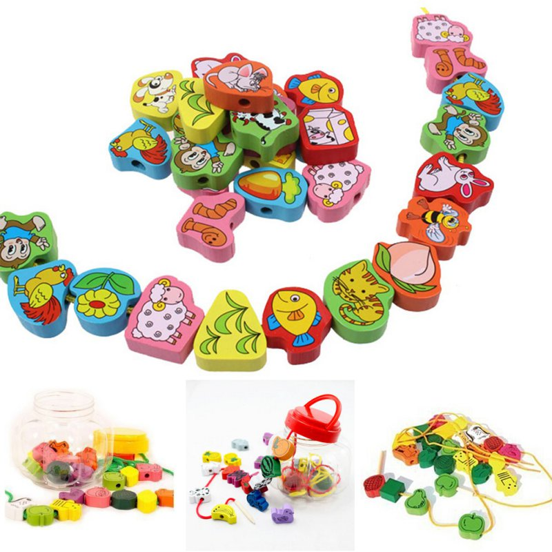 NEW Cartoon Fruit Animal Stringing Threading Wooden Beads Toy Kids Wooden Toys Baby DIY Toy Random Pattern 25PCS
