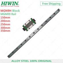 HIWIN riel guía MGNR9 de acero de aleación, 150mm, 200mm, 250mm, 300mm, 350mm, con carruajes MGN9H, bloque guía largo para CNC, envío gratis