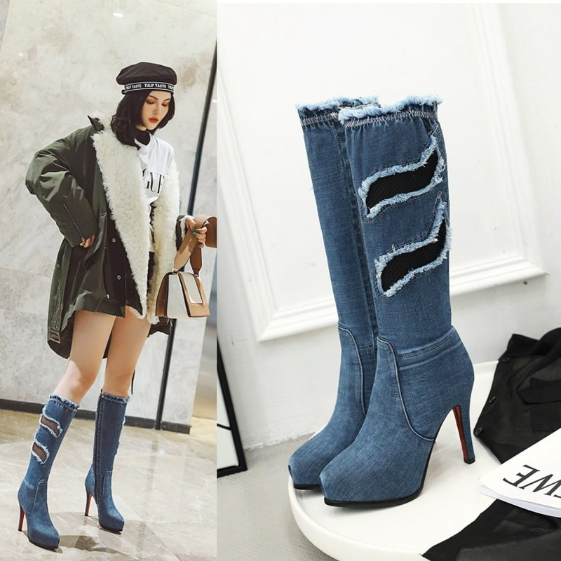 Jeans Thigh High Boots