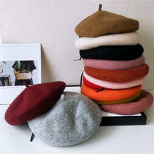 Fashion Solid Color Felt Beret Hat Women British Style Girls Ladies Wool French
