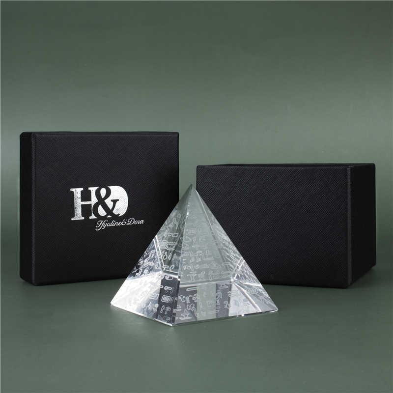 H & D 60Mm Kristal Piramida Figurine Koleksi Penyembuhan Hadiah Glass Pyramid Penindih Kertas dengan Mesir Karakter Fengshui Dekorasi Rumah