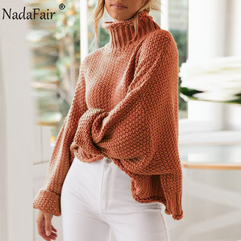 Nadafair Winter Knitted Woman Sweaters Pullover Autumn Plus Size Casual Solid Jumper Oversized Turtleneck Sweater Pull Femme(China)