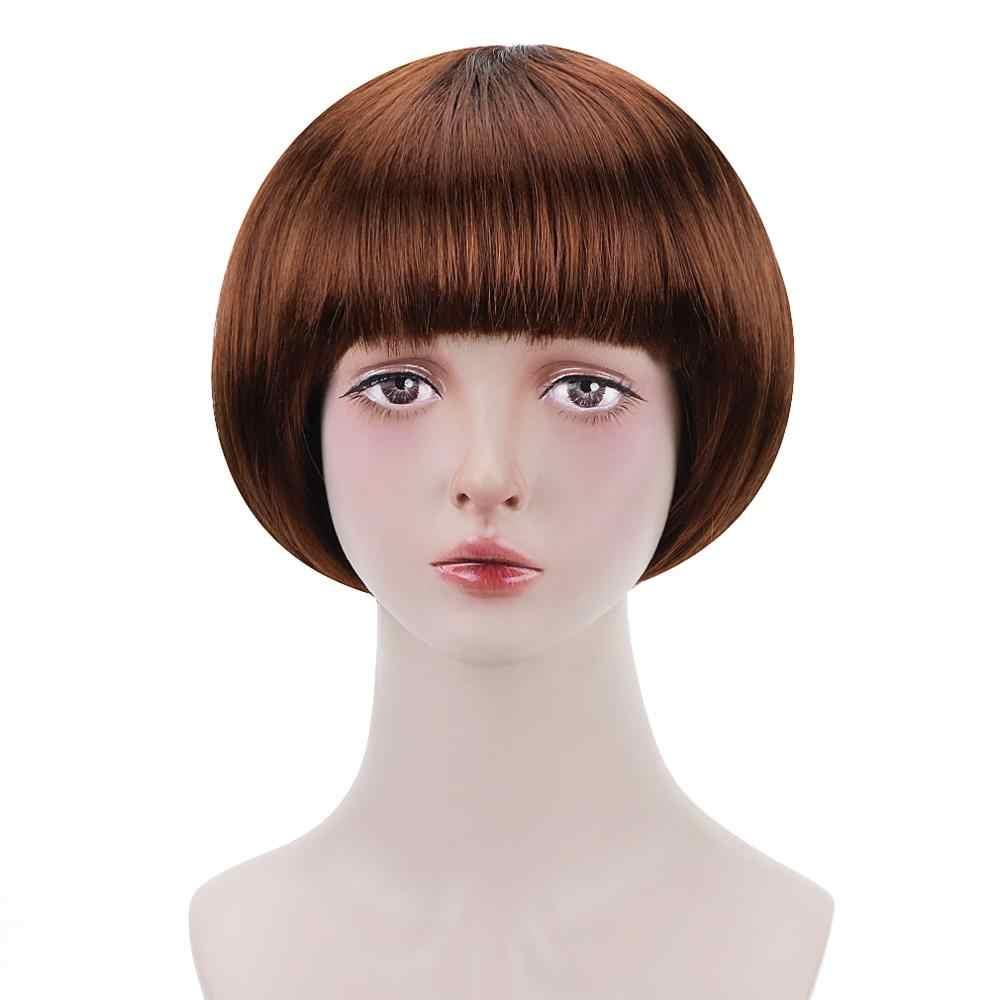Gratis Beauty 10 ''Korte Synthetische Bob Pruik Zwart Roze Bruin Blond Groen Blauw Rood Paars Bobo Kapsel Pruiken met pony voor Vrouwen