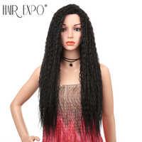 Perruque bouclée frisée longue de 28 pouces pour femmes noires sans colle Omber basse température fibre cheveux maquillage quotidien perruques synthétiques Hair Expo City