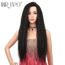28 inç uzun Kinky kıvırcık peruk siyah kadınlar için tutkalsız Omber düşük sıcaklık Fiber saç günlük makyaj sentetik peruk saç expo şehir