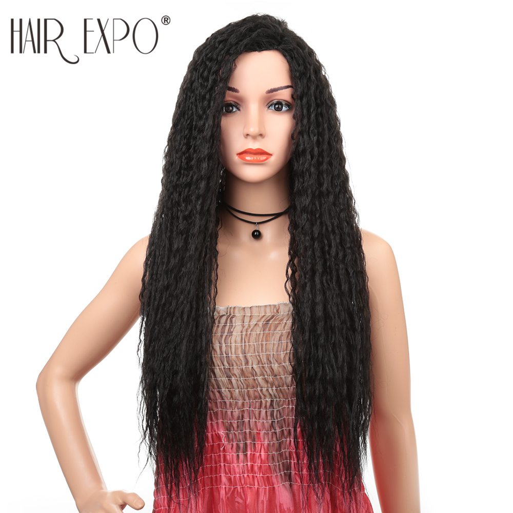 28inch Long Kinky Curly Wig For Black Women Glueless Omber Low Temperature Fiber Hair Daily Makeup Synthetic Wigs Hair Expo City