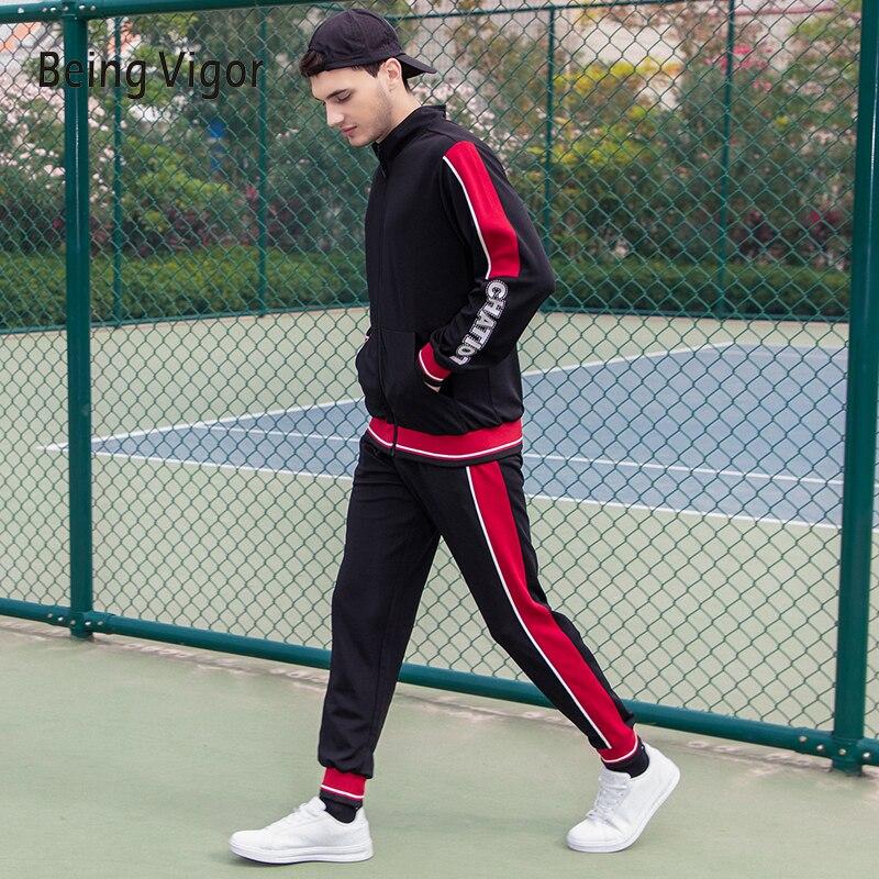 להיות מרץ גברים Slim Fit פרטי לוגו חם אופנה רחוב ללבוש ארוך שרוול אימונית שני סטי חתיכות