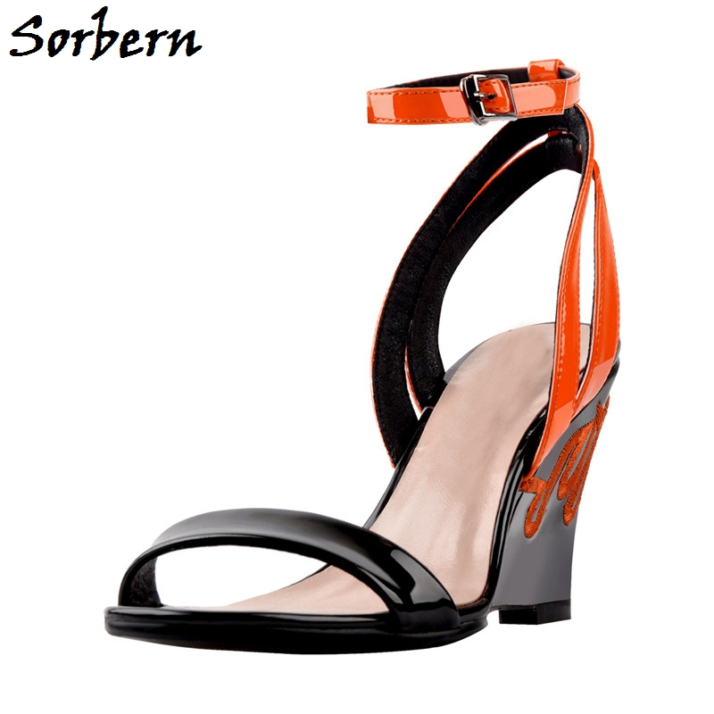 Sorbern Fashion Women Sandals Ankle Strap Summer Styles Wedges High Heel Luxury Designer Shoes Comfort Large Sizes Size 5-15