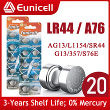 Eunicell 20pcs 155mAh LR44 AG13 Button Pilas Battery 357A S76E G13 LR1154 L1154 RW82 RW42 A76 1.5V Alkaline Cell Coin Batteries