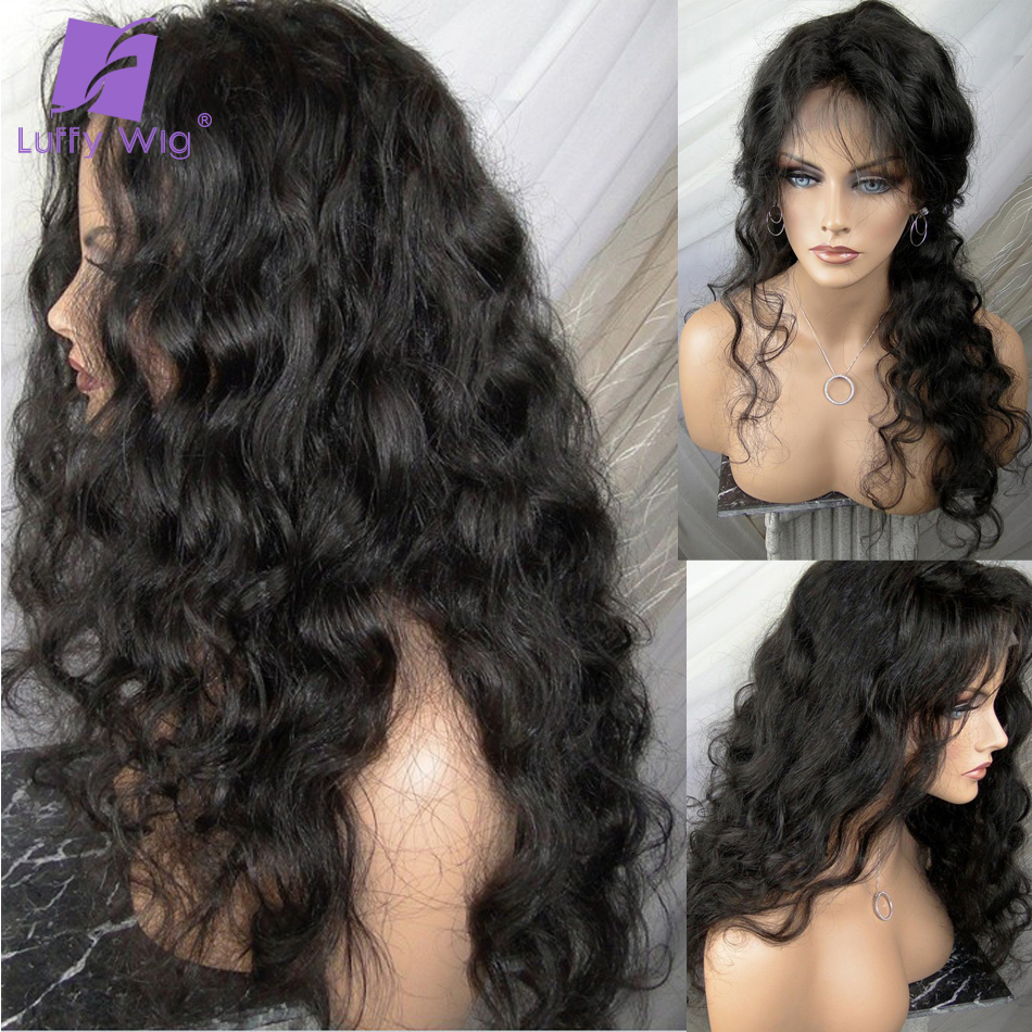 LUFFY 13x6 Lace Front Human Hair Wigs For Black Women PrePlucked With Baby Hair Remy Brazilian Wavy 4x4 Lace Closue Wig