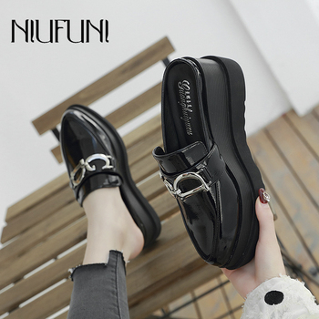 NIUFUNI Mules Shoes Fashion Pointed Toe Wedge Women Slippers Platform Woman Sandals Metal High Heels Casual Shoes For Women fedonas new arrival gray pink women low heels casual shoes comfortable four season pointed toe loafers shoes woman