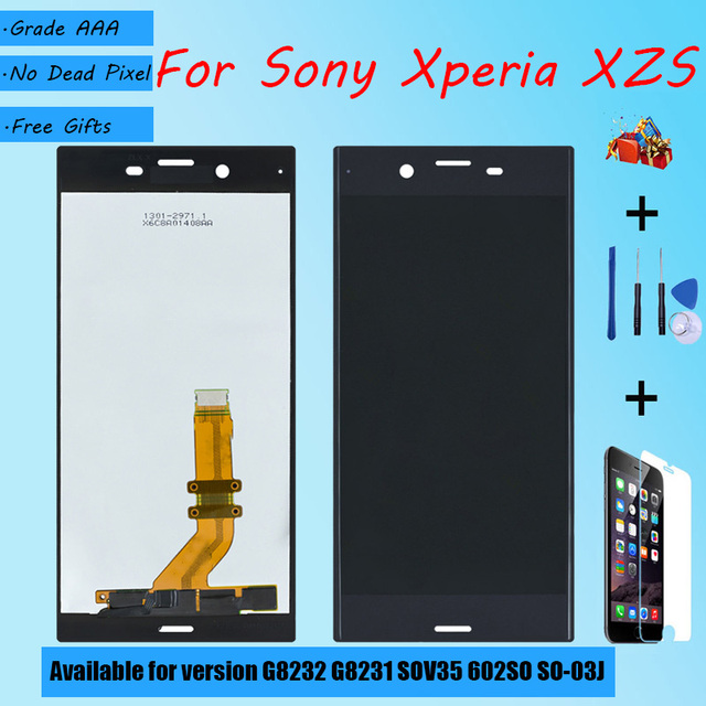 For Sony Xperia XZs G8232 G8231 SOV35 602SO SO 03J LCD screen assembly  touch glass,With repair parts LCD Display Black Silver