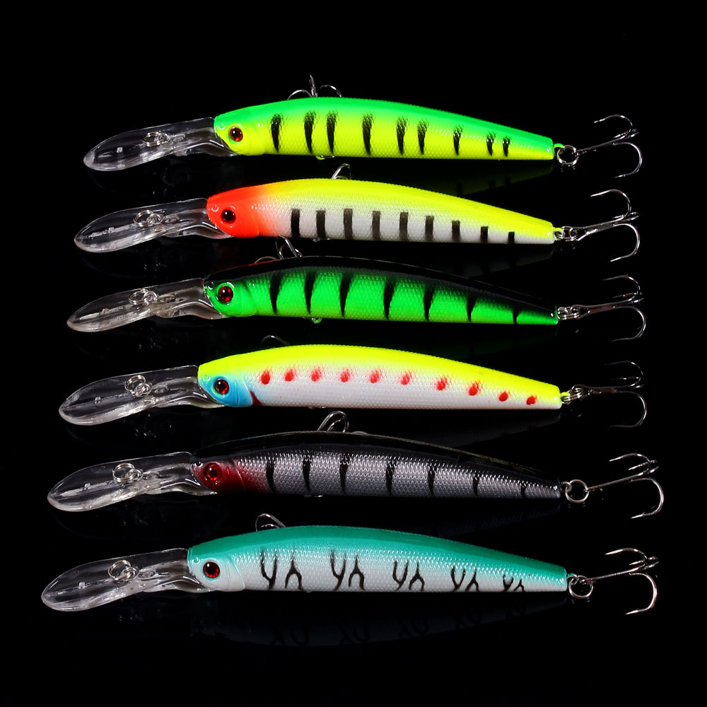 HENGJIA 6 piezas Big Minnow señuelos de pesca Bass CrankBait Hooks 14.5cm / 14.7g Isca Artificial Plastic Fishing Tackle Fishing Wobblers