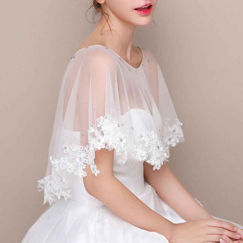 QR-BHRTY Women Shawl Women Embroidery Floral Lace Wedding Shawl Cape Rhinestone Bridal Capelet Bolero Red