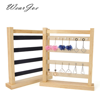 Solid Wood Velvet Earrings Display Stand Frame Jewelry Holder Rack Dangle Earrings Hanging Organizer 4 Tiers Photograph Props