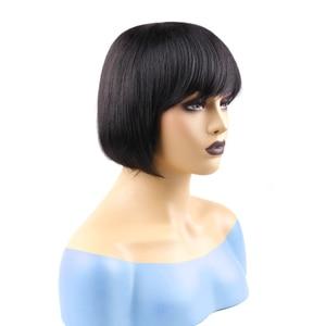Image 4 - לקנות 1 משלוח כובע קצר בוב פאה ברזילאי שיער טבעי פאות עם פוני משלוח חלק זול ישר שיער פאה פיקסי לחתוך מפץ פאות
