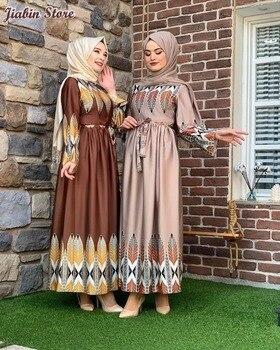 Vintage Ethnic Print Long Dress Coffee Elegant O neck Long Sleeve maxi Dresses for Women Oman Arab Muslim Autumn ethnic plunging neck long sleeve print blouse for women