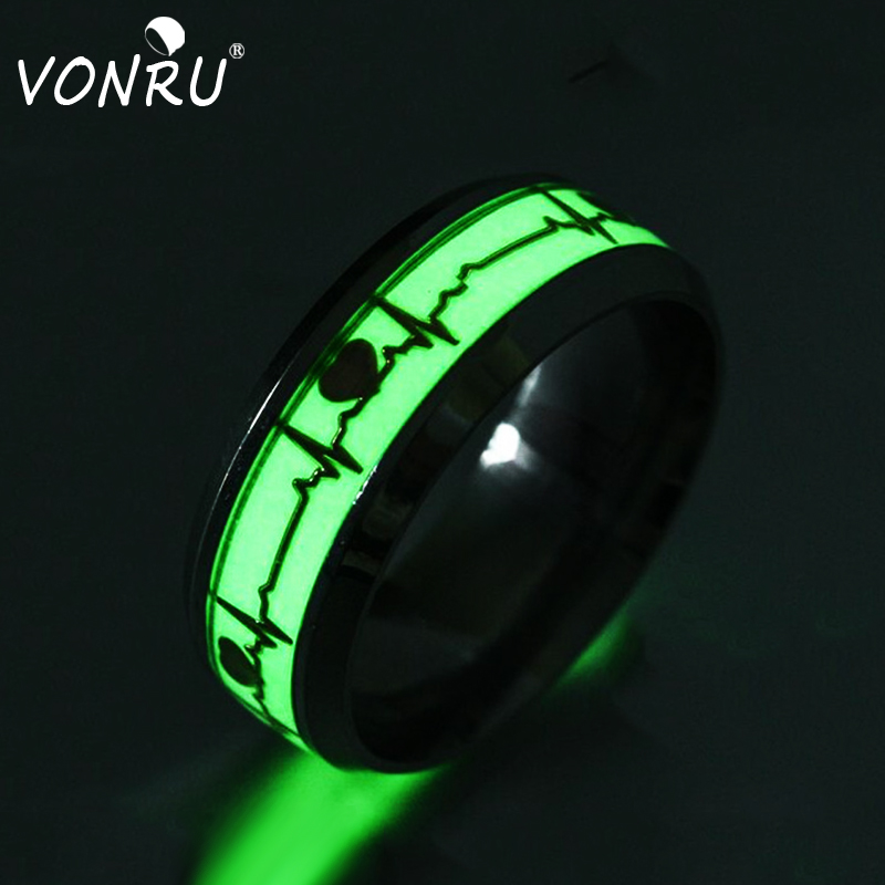 Stainless Steel Luminous Rings Heartbeat Glow In The Dark 8mm Width Romantic Personality Ring Bijoux Femme Fashion Jewelry(China)