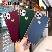KJOEW Love Heart Solid Color Phone Case For iPhone 11 Pro XS Max X XR 6 6s 7 8 Plus Hard PC Plating And Soft TPU Back Cover Capa(China)