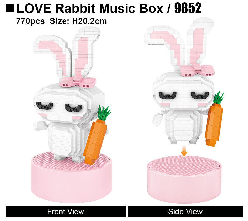 LOZ 9852 Love Rabbit Music Box Mini Bricks