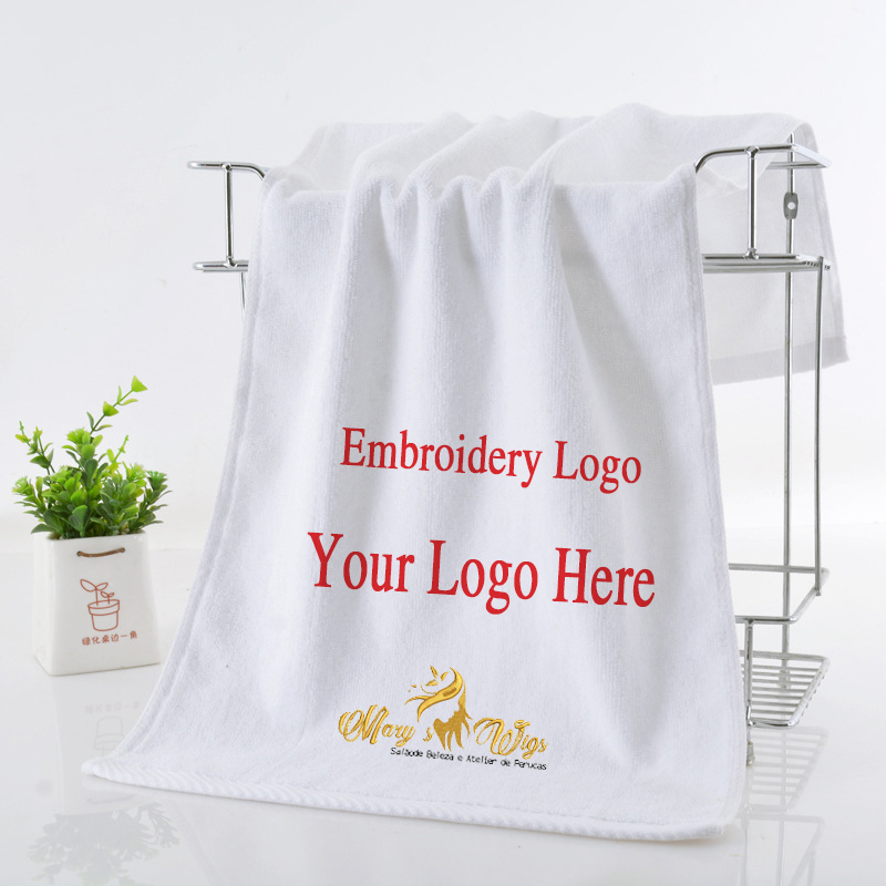 Cotton Embroidered White Hand Towel for Hotel Embroidery Bath Personalized Customized Beach Towel Logo Baptism Memorial Gifts