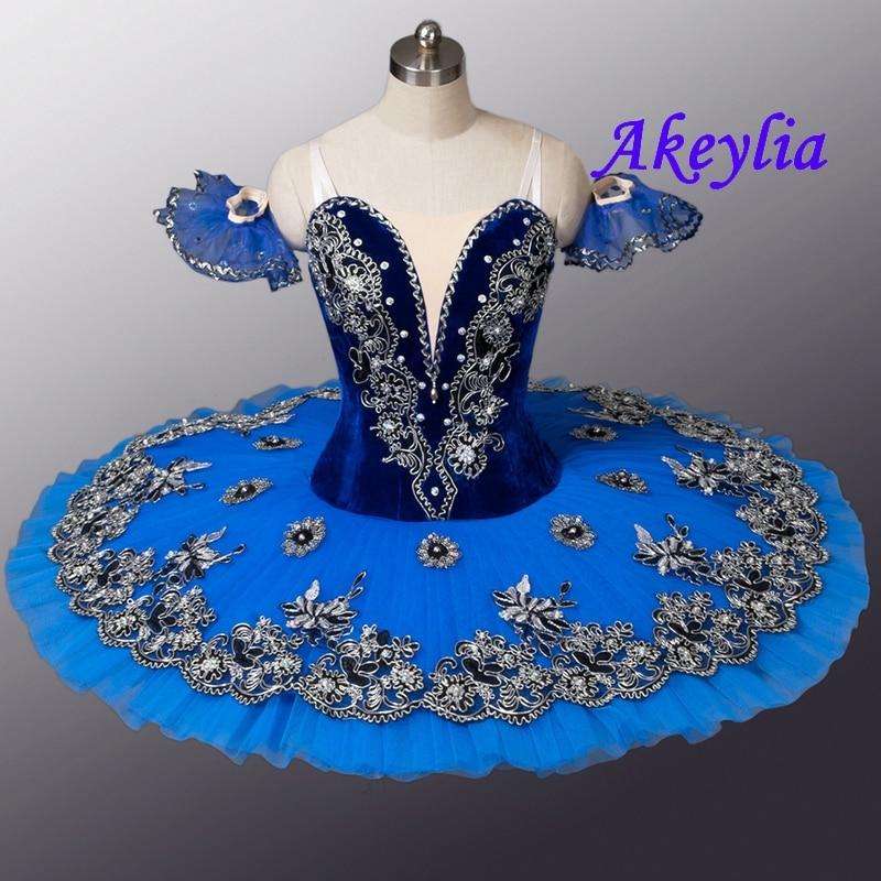 Velluto Royal Blue Bird Variazione di Balletto Professionale Tutu Donne Clsssical Tutu Pancake Del Costume Delle Ragazze Blu Swanlake Bambini