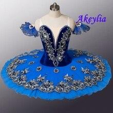 ベルベットロイヤルブルー鳥変化プロのバレエチュチュ女性 clsssical チュチュパンケーキ衣装女の子ブルースワンレイク子供