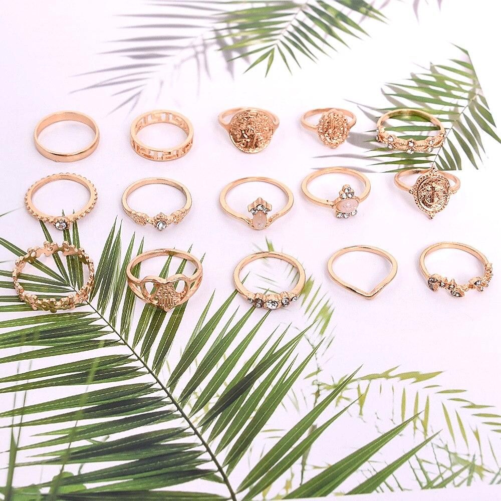 New Design Boho Vintage Gold Star Midi Moon Rings Set For Women Opal Crystal Midi Finger Ring 2020 Female Bohemian Jewelry Gifts 4