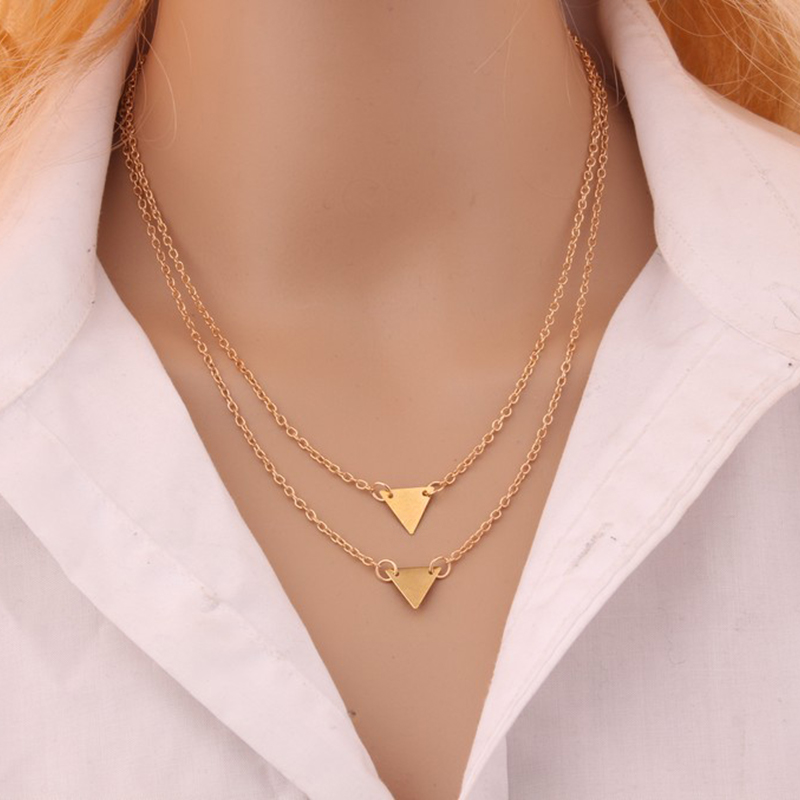 Charming Lady Double Triangle Clavicle Necklace Elegant Women's Gold Geometric Chain Pendant Fashion Party Jewelry Girl Gifts