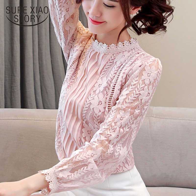 fashion women blouse 2019 solid lace print long-sleeved women shirts white blouse elegant women tops hollow blouses 1991 50