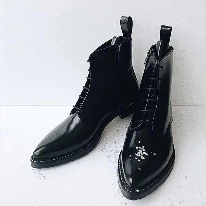 DAHOOD Vrouwen Enkellaars Nieuwe Britse Stijl Puntige Teen Rits Footwear Lage Hak Lente Herfst Lace Up Vrouwelijke Korte Laarzen