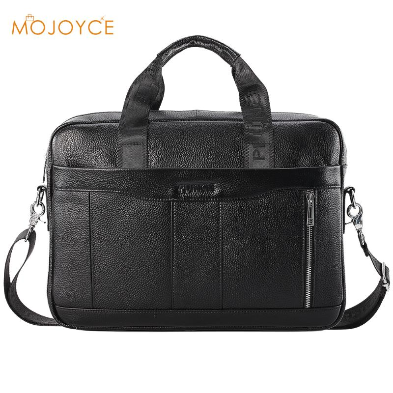 Genuine Leather Top-Handle Bags Men Black Shoulder Bags Male Solid Color Business Briefcase Messenger Handbags